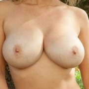 Busty Carol Showing Her Big Tits in the Back Yard