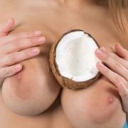 Busty beauty Vanea nude among some coconuts